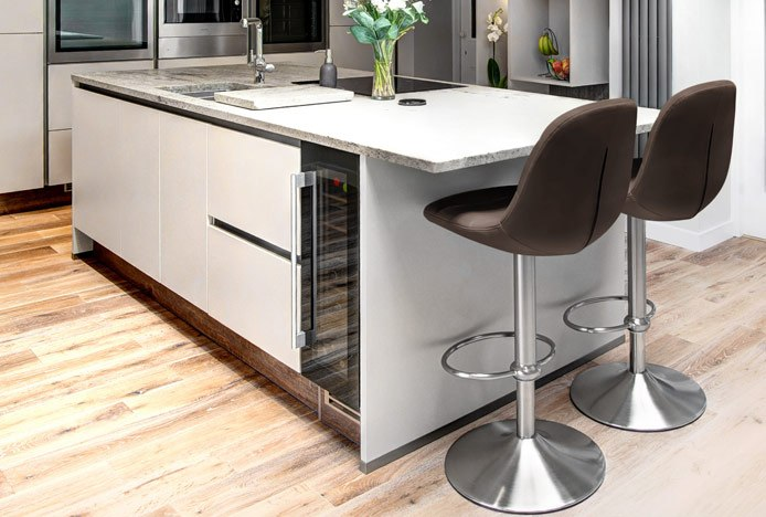 Ferrero Brushed Steel Bar Stool Brown In Kitchen