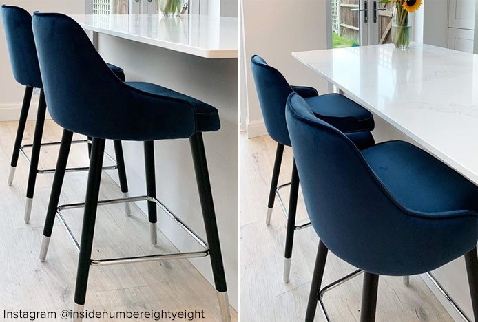 Glam Bar Stool Blue In Kitchen