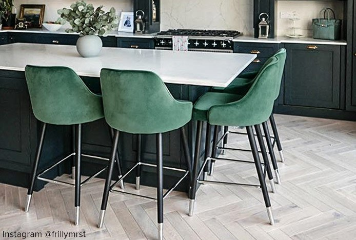 Glam Bar Stool Green In Kitchen Featuring Chrome Tips