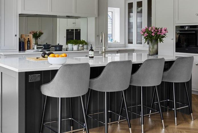 Glam Bar Stool Grey Velvet In Shaker Kitchen
