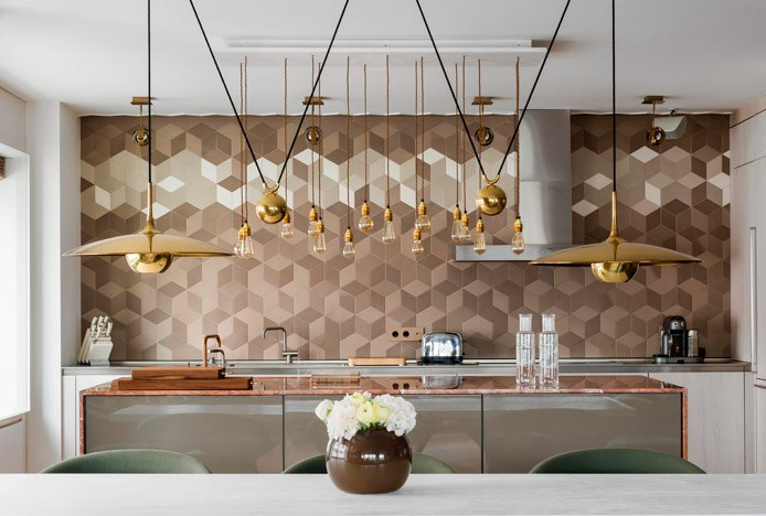 Kitchen With Gold Copper And Steel Features