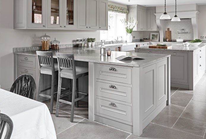 Grasmere Stool Grey In Grey Kitchen