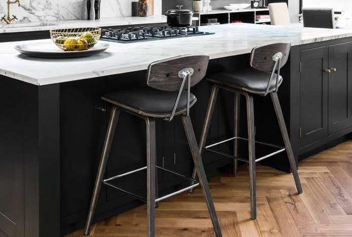 Henley Wooden Stool With Chrome Footrest At Kitchen Island