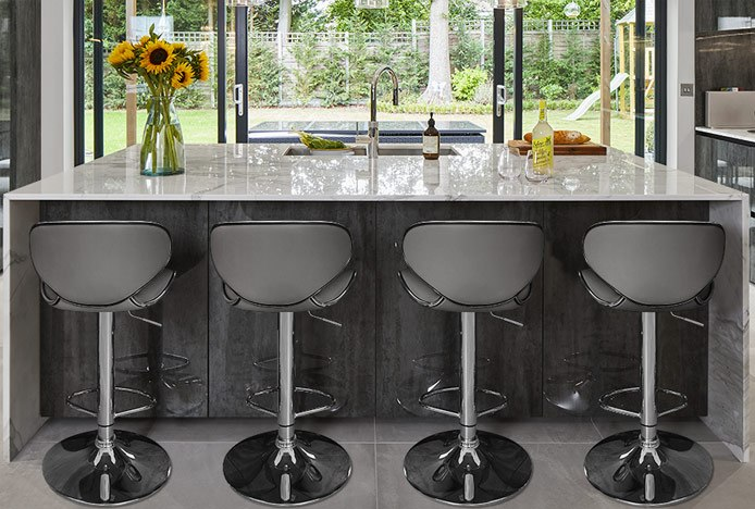 Duo Bar Stool Grey At Kitchen Island With Integrated Overhang