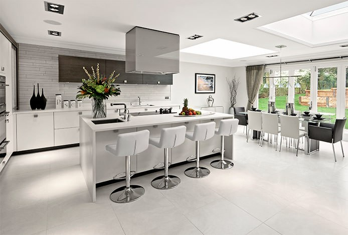 Lattice Stools In Grey Modern Kitchen