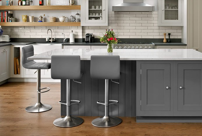 Linear Bar Stool Grey At Steel Kitchen Counter