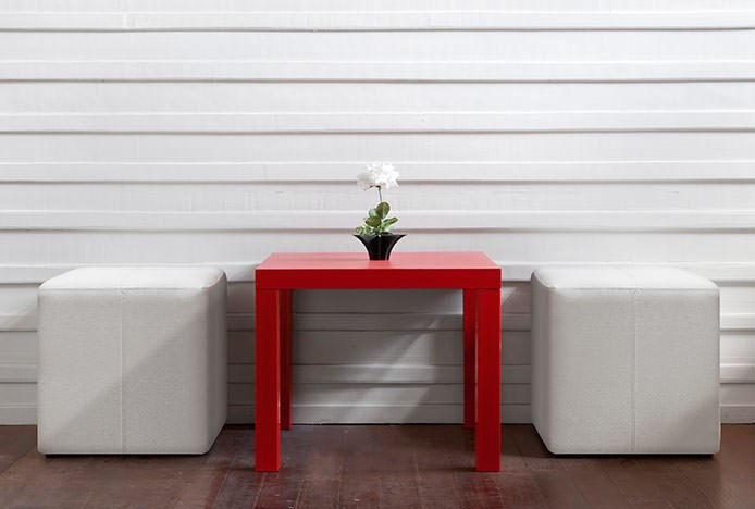 Low White Stools with Red Table