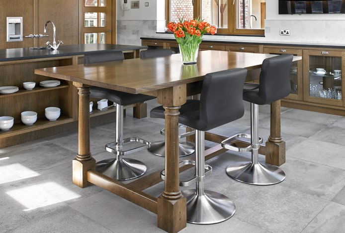 Lush Brushed Steel Bar Stools at Wooden Breakfast Bar