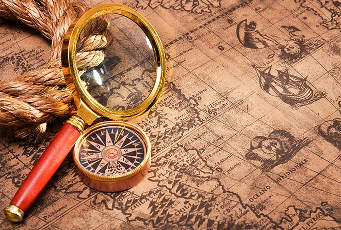 Map Compass and Looking Glass