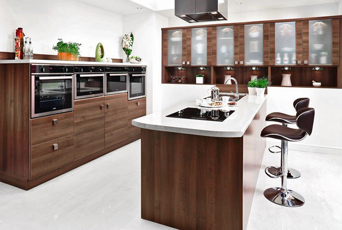 Matching Brown Stools and Kitchen
