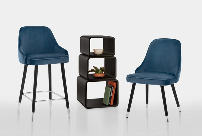Matching Glam Bar Stool & Dining Chair In Blue Velvet