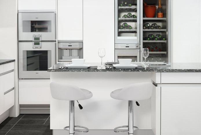 Kitchen With Symmetry And Lulu Bar Stools