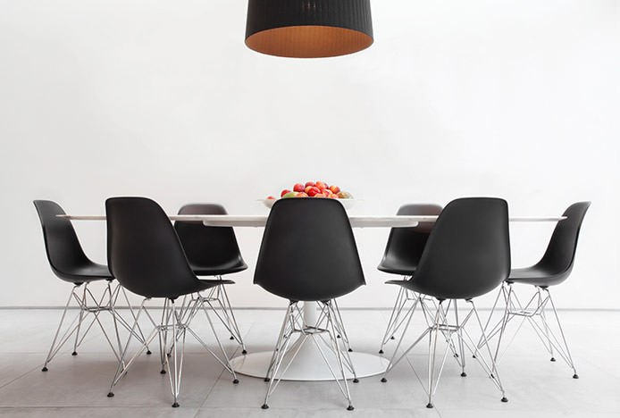 Metal and Black Plastic Eames Chairs