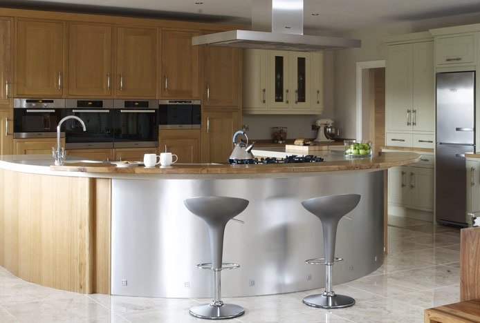 Metallic Kitchen With Matching Stools