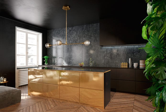 Kitchen With Mixed Metals And Gold Island