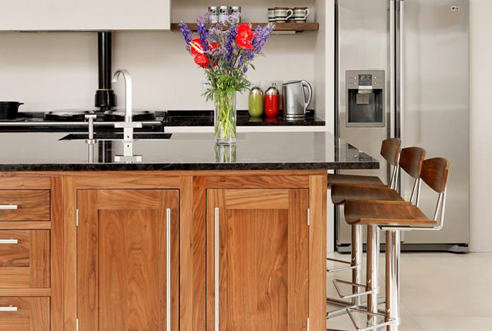 Modern Oak Stools in Oak Kitchen