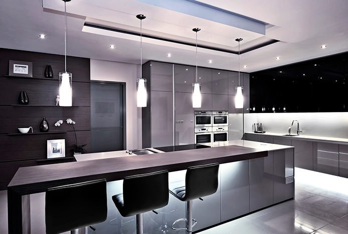 Monochrome Kitchen With Black Bar Stools