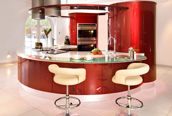 Monza Stools in Red Curved Kitchen