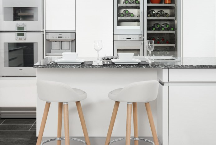 Jive Wooden Stool in White Kitchen