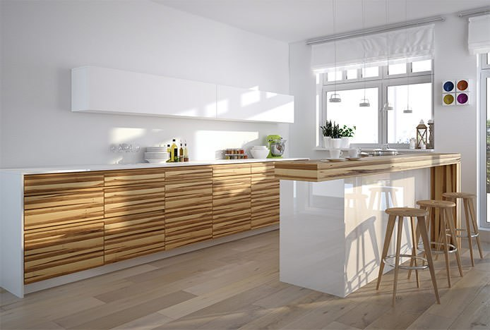 Oak Stools in Wooden Kitchen