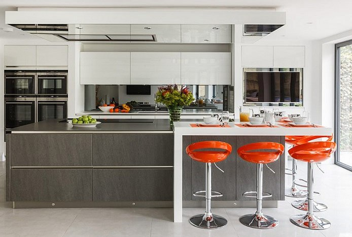 Orange Crescent Stools in Kitchen