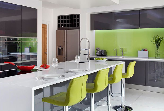 Padded Paradis Bar Stool Green In Kitchen