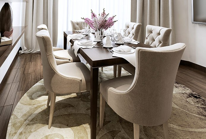Padded Verdi Chairs At Walnut Table