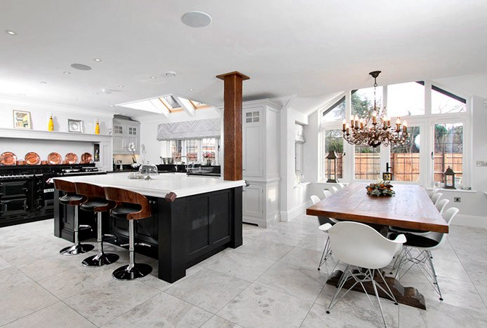Stylish Wooden Stools in Kitchen with Eames Chairs