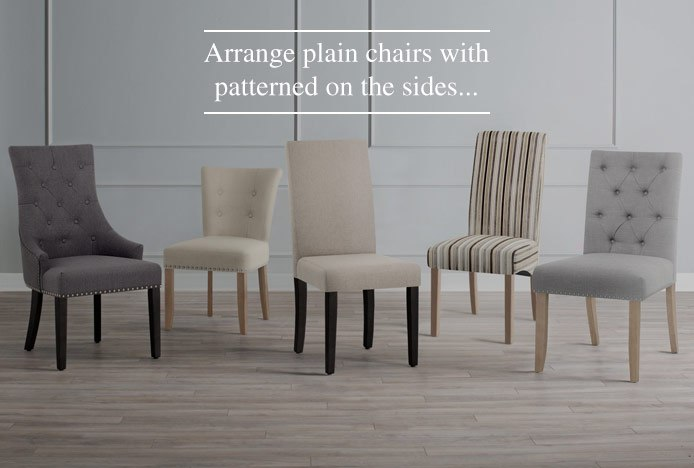 Pattern And Plain Dining Chairs