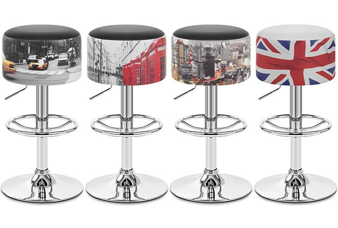 Printed Leather Status Bar Stools