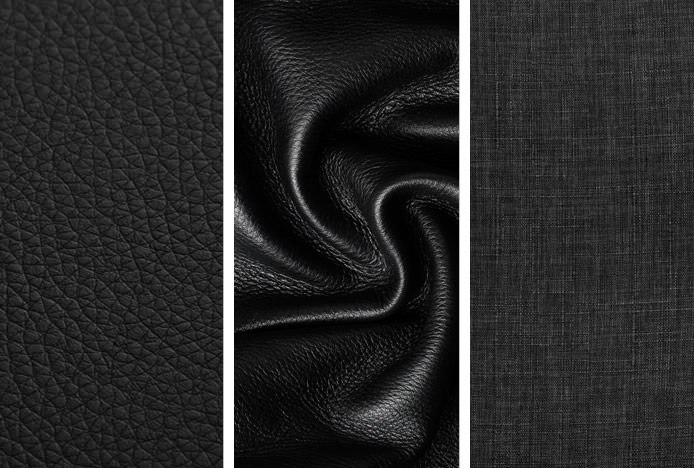 Real Leather Faux Leather and Fabric