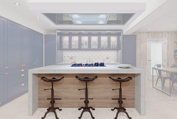Rectangular Breakfast Bar With Tractor Stools