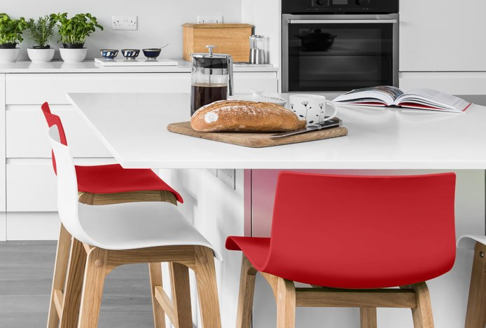 Red & White Stools In Modern Kitchen