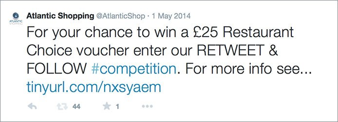 Retweet And Follow Competition Tweet