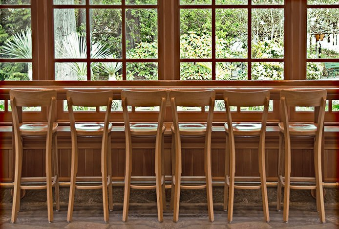 Row of Pigalle Oak Stools at Window