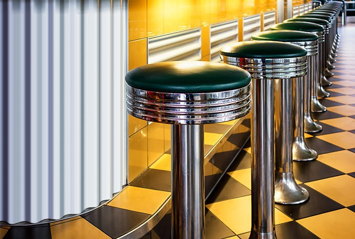 Row of Stools in American Diner