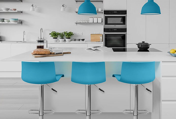 Serena Bar Stool Blue In A Modern Neutral Kitchen