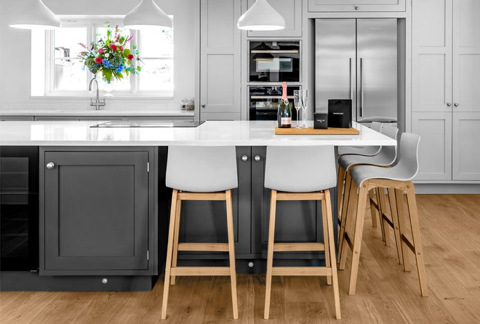 Drift Oak And Grey Bar Stool In Kitchen With Natural Colours