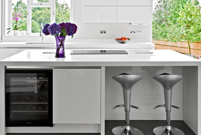 Silver Coco Stools in Kitchen