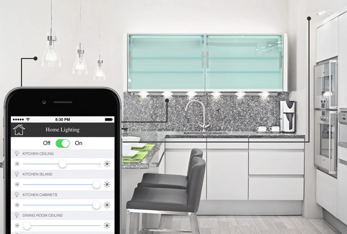 Kitchen With Smart App Controlled Lighting