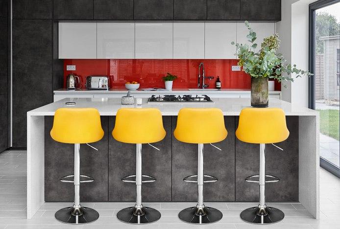 Sticth Bar Stool Yellow In A Grey Kitchen