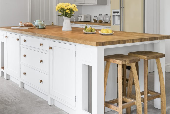 Oslo Oak Bar Stool At Kitchen Island With Supported Overhang