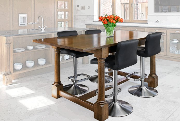 Table Breakfast Bar With Lush Brushed Steel Bar Stools