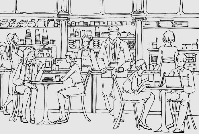 Illustration Of Restaurant Table Setup