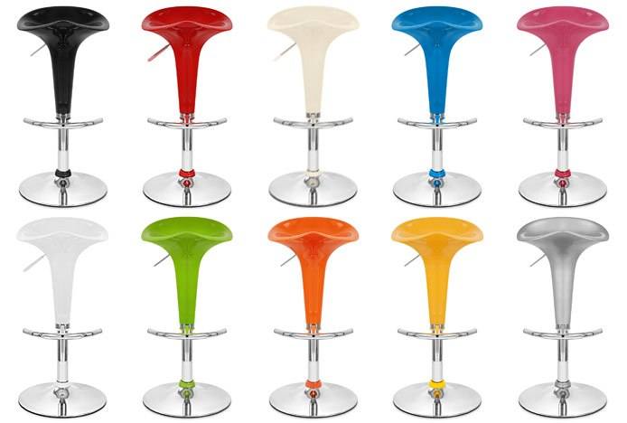 Ten Bright Coloured Coco Bar Stools