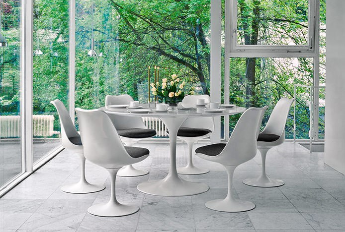 Formal Dining Area With Tulip Chairs