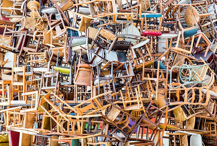 Untidy Stack of Chairs