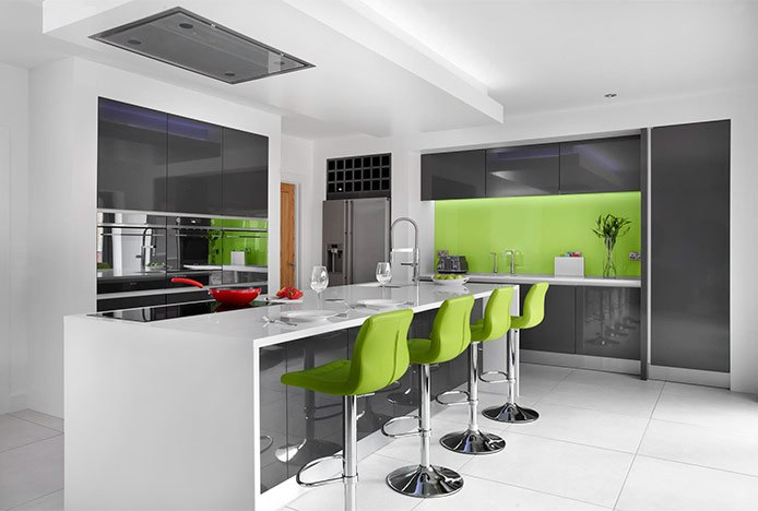 Green Paradis Bar Stools In Kitchen
