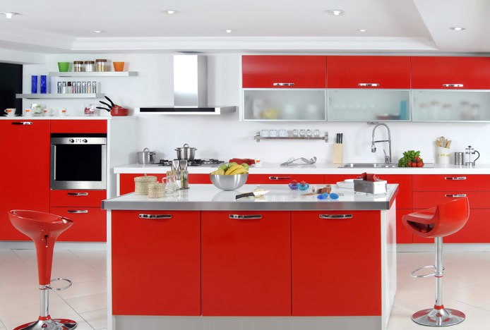 Bold Red Kitchen With Bombo Bar Stool