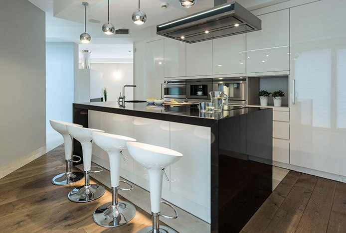 White ABS Bombo Stools in Kitchen